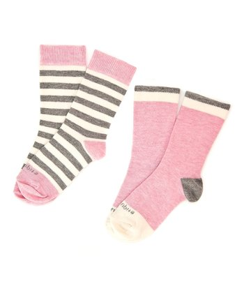 Heather Pink Abbey Stripe Sock Set