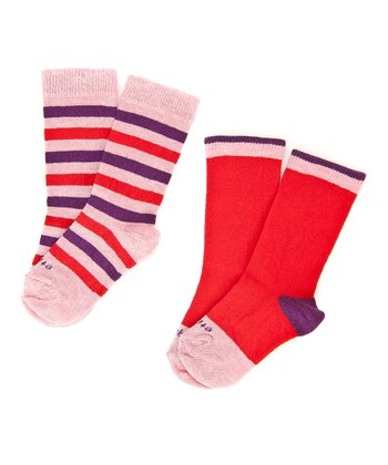 Fire Red Happy Stripe Sock Set