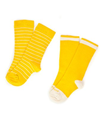 Canary Yellow Needle Stripe Socks Set