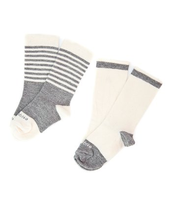 Heather Gray Preppy Stripe Sock Set