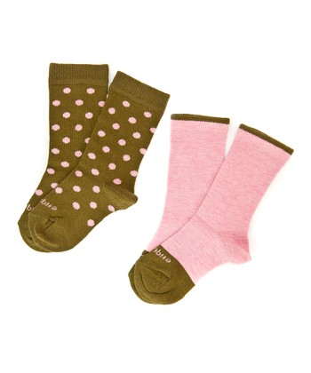 Heather Pink Polka Spots Socks Set