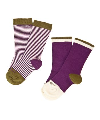 Imperial Purple Sailor Stripe Sock Set