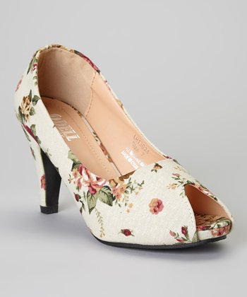 White & Ivory Floral Odell Pump