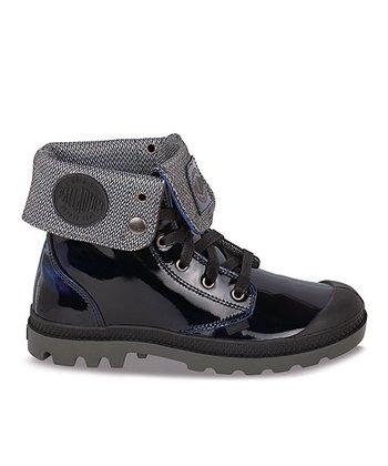 Palladium Midnight & Blue Baggy Leather Fold-Over Boot