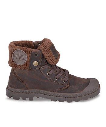 Palladium Tan & Dark Brown Baggy Leather Fold-Over Boot