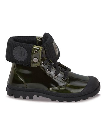 Palladium Midnight & Lime Baggy Leather Fold-Over Boot