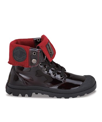 Palladium Red & Midnight Baggy Leather Fold-Over Boot