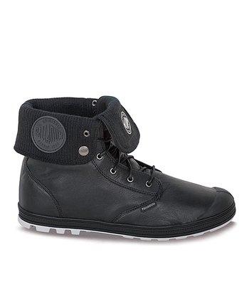 Palladium Black & Vapor Slim Baggy Leather Fold-Over Boot