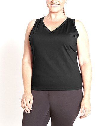 Black Essential Racerback Tank - Plus