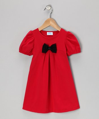 Red Bow Puff-Sleeve Dress - Infant, Toddler & Girls