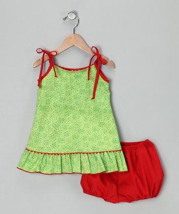 Green Polka Dot Dress & Bloomers - Infant, Toddler & Girls