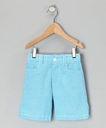 Turquoise Gingham Shorts - Infant, Toddler & Boys