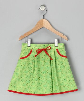 Red & Green Polka Dot Skirt - Infant, Toddler & Girls