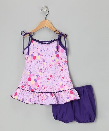 Purple Polka Dot Dress & Bloomers - Infant, Toddler & Girls