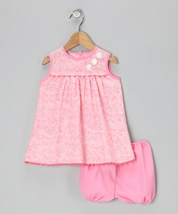 Light Pink Floral Dress & Bloomers - Infant & Toddler