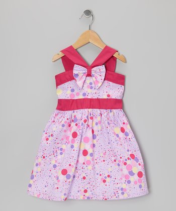 Purple & Fuchsia V-Strap A-Line Dress - Infant, Toddler & Girls