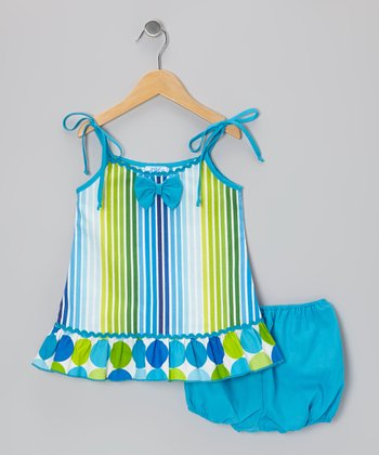 Green & Turquoise Bow Dress - Infant, Toddler & Girls