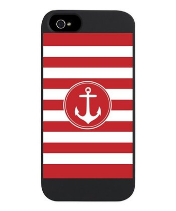 Red Nautical Anchor Stripes Snap Case for iPhone 5/5s