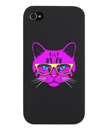 Neon Pink Hipster Cat Snap Case for iPhone 4/4s