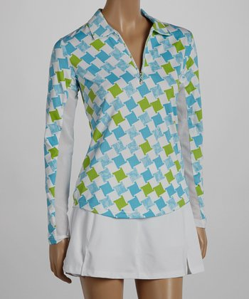 SanSoleil Green & Blue Pool Houndstooth Polo - Women