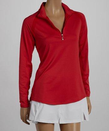 SanSoleil Red Mock Neck Polo - Women