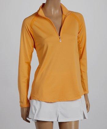 SanSoleil Tangerine Mock Neck Polo - Women