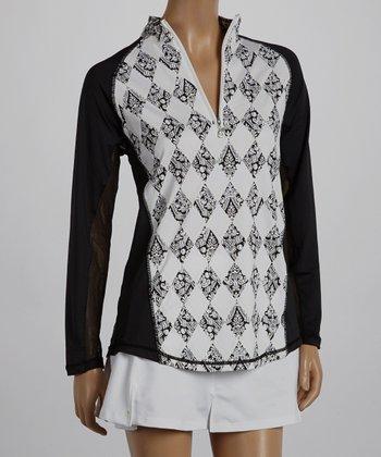 SanSoleil Black Argyle Panel Mock Neck Polo - Women