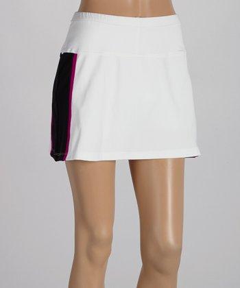 Peachy Tan White & Magenta Stripe Varsity Skirt - Women