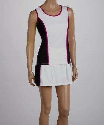 Peachy Tan White & Magenta Stripe Varsity Sleeveless Tank - Women