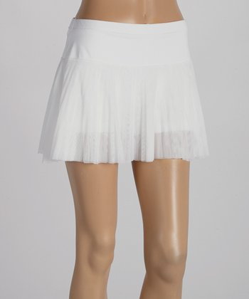 Peachy Tan White Accordion Mesh Skirt - Women