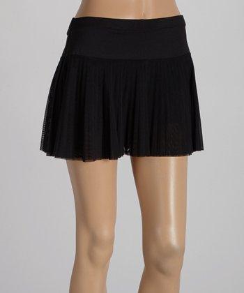 Peachy Tan Solid Black Accordion Mesh Skirt - Women