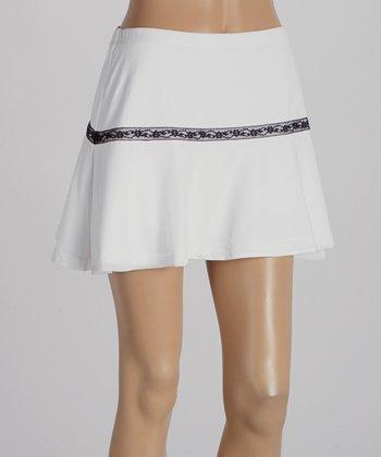 Peachy Tan White Mesh & Lace Trim Flounce Skirt - Women
