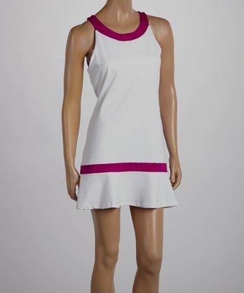 Peachy Tan White & Magenta Ramona Dress - Women