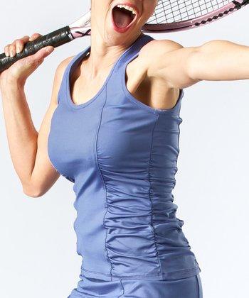 Smashing Smokey Blue Ruched Eleanor Slim Tank - Women