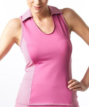Smashing Pink Houndstooth Billie Slim Sleeveless Top - Women