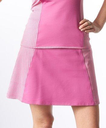 Smashing Pink Houndstooth Colleen Shape & Slim Color Block Skort - Women