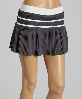 FILA Charcoal Heather & White Stripe Collezione Pleated Skort - Women