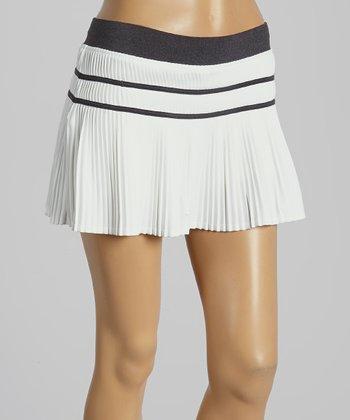 FILA White & Charcoal Heather Stripe Collezione Pleated Skort - Women