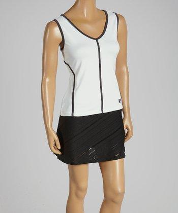 FILA White & Charcoal Stripe Collezione Sleeveless Tank - Women