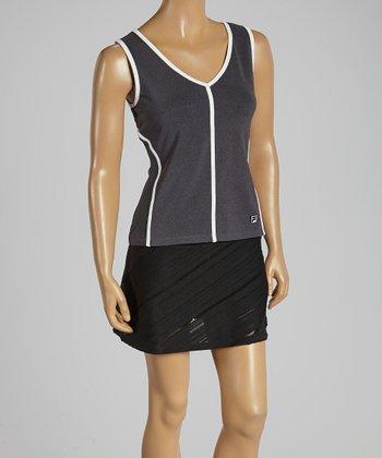 FILA Charcoal Stripe & White Collezione Sleeveless Tank - Women