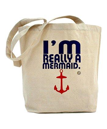 Ivory & Navy 'I'm Really a Mermaid' Tote