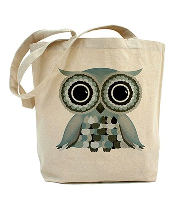 Ivory & Green Owl Tote