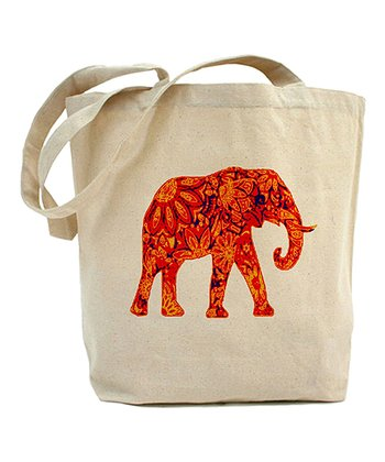 Ivory & Red Elephant Tote