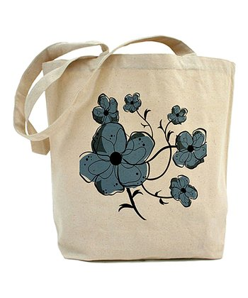 Ivory & Blue Floral Tote