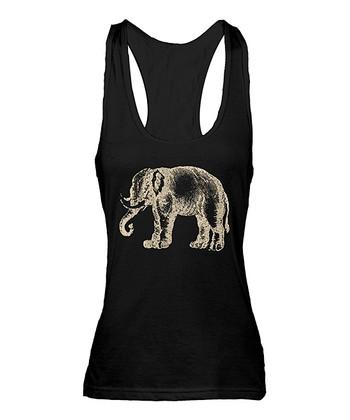 Black & Ivory Elephant Racerback Tank
