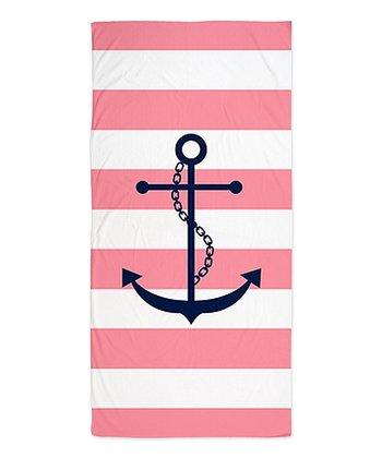 Pink & Navy Anchor Beach Throw
