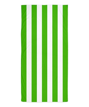 Green & White Stripe Beach Throw