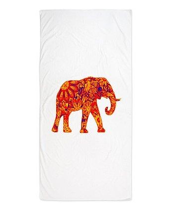 White & Red Elephant Beach Throw