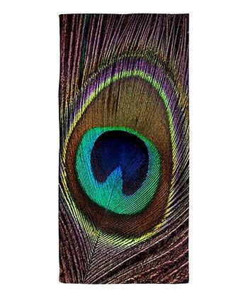 Purple & Blue Peacock Feather Beach Throw