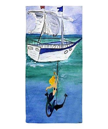 Blue & White Ship Beach Throw